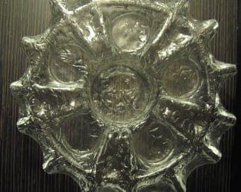 Muurla Finland Glass Candleholder_Scandinavian Art Glass_1970_Valentine's Day Present Gift