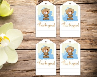 Teddy Bear Party Tags, birthday, baby shower favors, baby shower, favor tags, party tags, thank you tags, party favor tags, printable tags