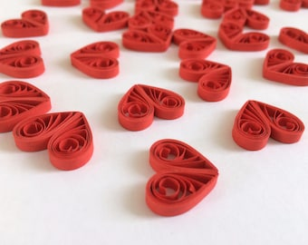 Quilled Hearts Paper Quilling Art Confetti Scatter Ornaments Gifts Fillers Valentines Mothers Day Baby Bridal Shower Wedding Red 3