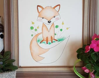Woodland Animal Watercolor Prints for Baby Room