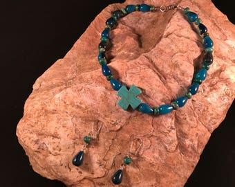 Blue Agate Cross Necklace