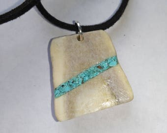 Necklace Turquoise in Caribou Antler
