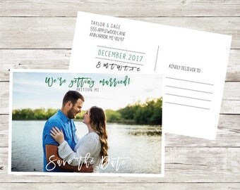 Save the dates Calendar Save the date postcard Wedding simple Flat Card Custom Picture Photo Invitation Wedding Postcard elegant fun bride