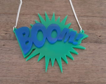 Boom! Comic book inspired laser cut necklace