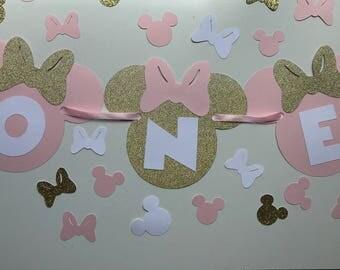 Pink Gold Minnie Mouse Banner - Baby Birthday Banner - Cake Smash Banner - Photo Shoot Prop - Baby Shower Banner - Nursery Decor