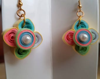 Handcrafted Quilled Earrings in pastel colors
