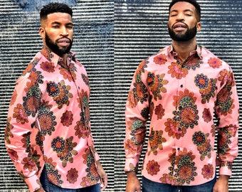 Men's Collared Long Sleeve Shirt Ankara Designs