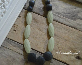 Teething necklace. [Olive].