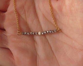 Necklace beads Hematite gemstone and stardust