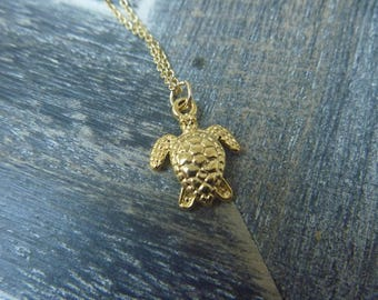 Turtle necklace 18 k gold plated over sterling