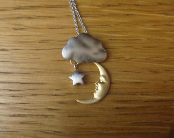 Rain Cloud, moon  and star Silver Necklace