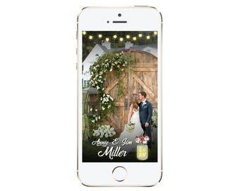 Rustic Wedding Snapchat Geofilter, Custom Wedding Geofilter, Rustic Wedding Decor