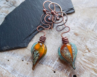 Bohemian and whimsical earrings, lampwork headpins, copper, forged, handmade.