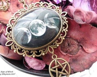 Triple Moon Goddess necklace | Wicca Goddess necklace | Goddess pendant