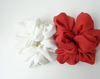 A set of 2 scrunchies, white and red, Red, white scrunchies Chouchou, hair accessories, handmade by ScrunchiesCo