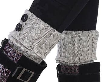 Cozy Spring/Fall/Winter Cable Knit Boot Cuffs with Buttons