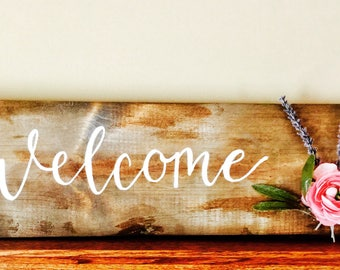 Welcome sign- Floral rustic Sign