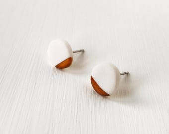 White and gold clay stud earrings, stocking filler, Christmas gift, hypoallergenic earrings