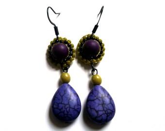 dangle drop earrings purple and pearls