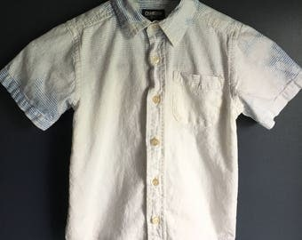 4 T short sleeve button up boys shirt, dipped dyed in bleach