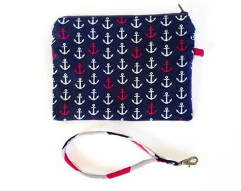 Anchor wristlet, wristlet, wristlet wallet, anchor purse, handbag, fabric wristlet, clutch, phone purse, small purse