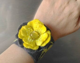 Gray yellow cuffs Felted cuffs Flowers cuff bracelet Felt cuff Felted bracelet Gift for women