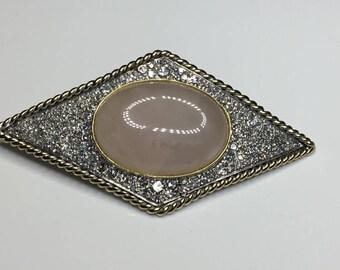 Estate Antique 14K White & Yellow Gold 3.00 CTW Diamond Pink Quartz Pin Brooch 20 Grams