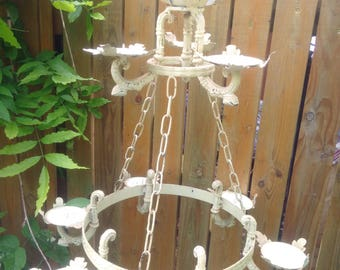 Fabulous Vintage Large French Toleware Suspended OR table top 9 Holder Candelabra, huge shabby chic either hanging or static candleabra