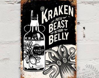"Metal Replica Wall Sign ""Kraken Rum"". Mancave decoration Bar Pub Drink Tattoo"