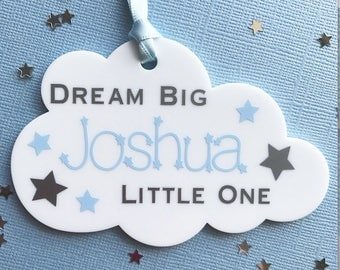 personalised name cloud, baby boy gift, boy nursery decor, personalised plaque, baby shower gift, christening gift, dream big plaque,