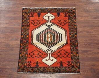 Persian 3X4 Karajeh Sarab Hand-Knotted 1960's Area Rug Wool Oriental Carpet (3.1 x 4.4)