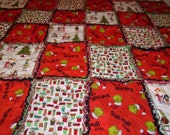 Christmas Grinch quilted rag throw