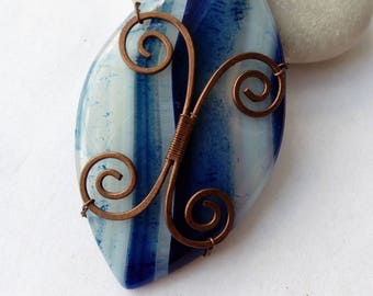 "Pendant natural agate  stone in a copper frame! Series ""The Secret of the Ocean"""