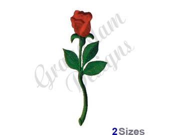 Long Stem Rose - Machine Embroidery Design