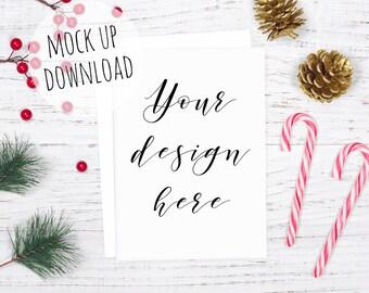 Christmas Card Mockup Photo, Christmas Styled Stock Photography, Christmas Invitation Mock Up Image, Card Mockup Styled With Candy Canes