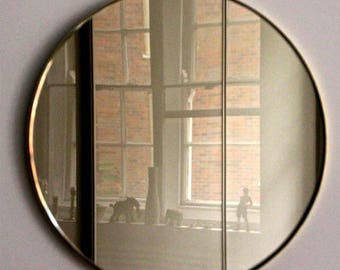 Bronze Orbis  wall round mirror™ with brass frame