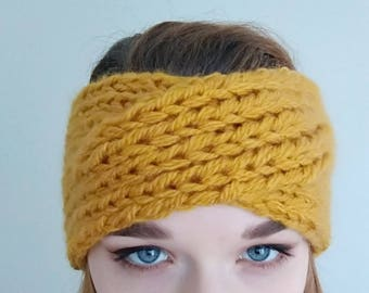 Cross mustard wool headband