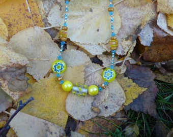 Unique Glass Bead Necklace, Yellow and Green Necklace,