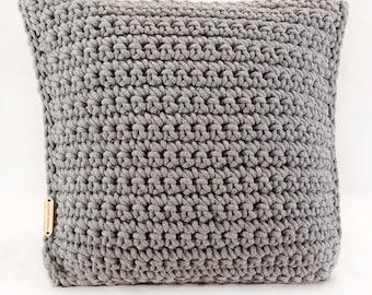 Beautiful cotton cord pillow - gray crochet pattern