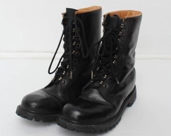 Vintage Black Leather Man Boots/ Size 7.5