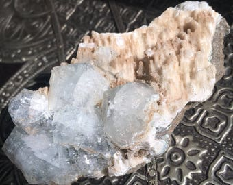apophyllite with peach stalactite cluster