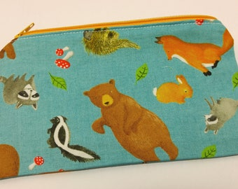 Forest Critters Novelty Zipper Pouch - makeup bag; pencil case; gift for her; cosmetic bag; carry all; gadget case; birthday; bridesmaids