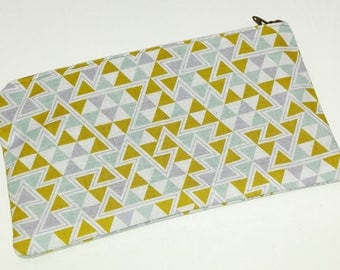 Triangles in Maize Novelty Zipper Pouch - makeup bag; pencil case; gift for her; cosmetic bag; carry all; gadget case; birthday;