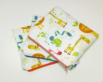 Food Safe Wet/Dry Bag Zoo Animals -  kids gift; reusable sandwich bag; cloth diaper bag; zipper bag; bathing suit bag; snack bag