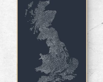 The Rivers of Great Britain  - White on Chalkboard