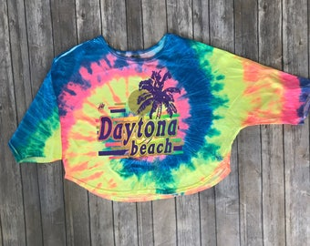 90s tie dye crop top daytona beach florida shirt festival hippy