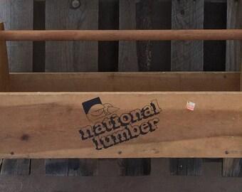 Rustic Wood Carpenter Wooden Tool Caddy Tool Box