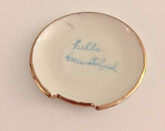 Luster Spoon Rest/ Small plate with quote
