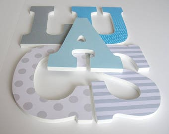 Blue and Grey Nursery Wooden Letters, Boy Bedroom