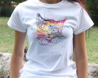 Kitty T-shirt - Cute Tee - Fashion women's apparel - Colorful printed tee - Gift Idea